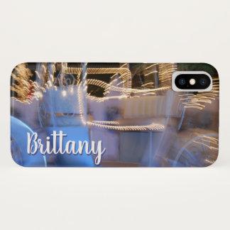 Capa Para iPhone X Nome azul do costume da foto do treinador da