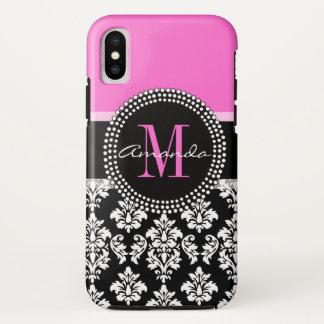 Capa Para iPhone X Nome do monograma do damasco do preto do rosa