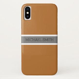 Capa Para iPhone X Nome elegante da fita cinzenta moderna de cobre