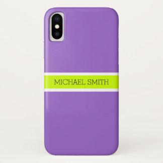 Capa Para iPhone X Nome elegante moderno do fundo Amethyst liso
