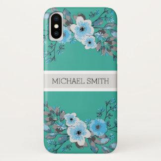 Capa Para iPhone X Nome elegante moderno floral #4 de Keppel