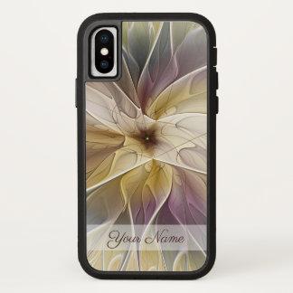 Capa Para iPhone X Nome floral da arte do Fractal da beringela do