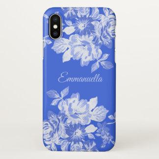 Capa Para iPhone X Nome floral do azul marinho e o branco da aguarela