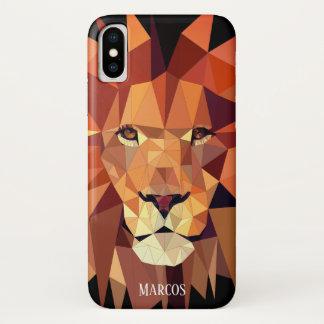 Capa Para iPhone X Nome geométrico moderno do costume do leão