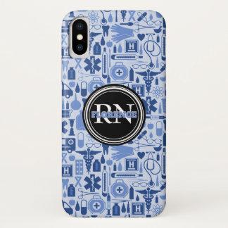 Capa Para iPhone X Nome médico do azul do teste padrão da enfermeira