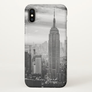 Capa Para iPhone X Nova Iorque branca preta retro