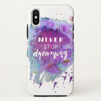 Capa Para iPhone X Nunca pare de sonhar citações da motivação da