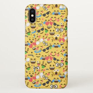 Capa Para iPhone X o amor bonito do emoji ouve o teste padrão do riso