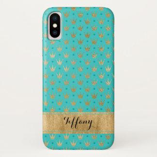 Capa Para iPhone X O Aqua, ouro coroa o caso 2 do iPhone X da case