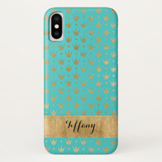Capa Para iPhone X O Aqua, ouro coroa o caso do iPhone X da case mate