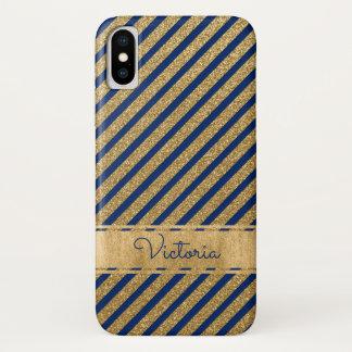 Capa Para iPhone X O azul, ouro listrou a caixa do iPhone X da case