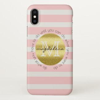 Capa Para iPhone X O brilho na moda do ouro do monograma cora listras