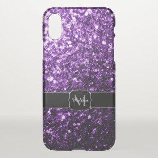 Capa Para iPhone X O brilho roxo escuro sparkles monograma raro