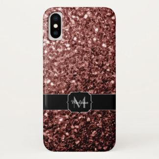 Capa Para iPhone X O brilho vermelho Glam bonito de Brown sparkles