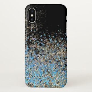 Capa Para iPhone X o céu azul do brilho do redemoinho do ouro do caso