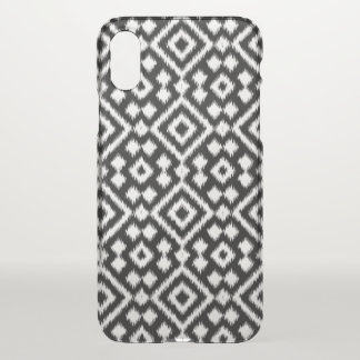 Capa Para iPhone X O diamante branco preto de Ikat do vintage
