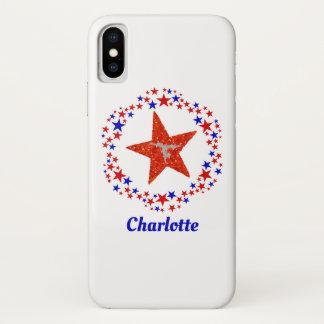 Capa Para iPhone X O elogio da ginástica Stars o monograma azul