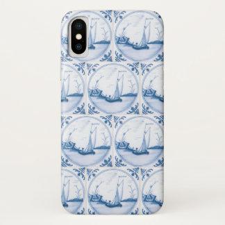 Capa Para iPhone X O falso branco azul do veleiro de Delft telha a