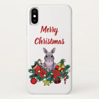 Capa Para iPhone X O Feliz Natal encaixota com coelho do Natal