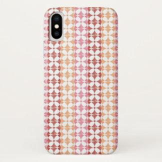 Capa Para iPhone X O ikat vermelho geométrico listra o teste padrão