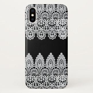 Capa Para iPhone X O laço branco forma uma beira delicada contra o