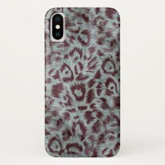 Capa Para iPhone X O leopardo peludo exótico mancha a beringela azul