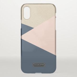 Capa Para iPhone X O marinho geométrico & cora rosa personalizado