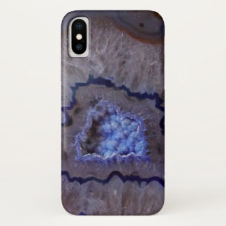 Capa Para iPhone X O mineral azul e branco de Geode apedreja a caixa