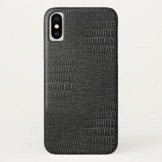 Capa Para iPhone X O olhar da pele realística preta do jacaré