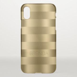 Capa Para iPhone X O ouro metálico tonifica listras