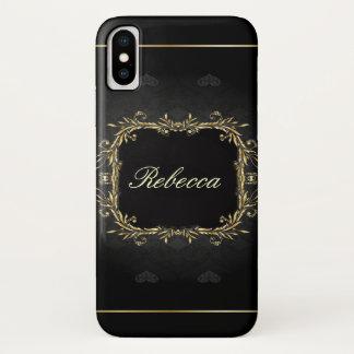 Capa Para iPhone X o preto e o ouro do gótico envolvem monogrammed