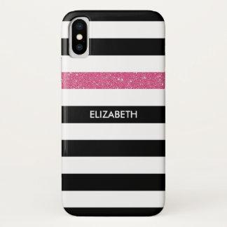 Capa Para iPhone X O preto moderno listra o Glitz e o nome