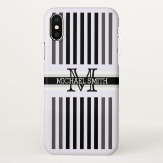 Capa Para iPhone X O quartzo preto moderno do monograma listra o