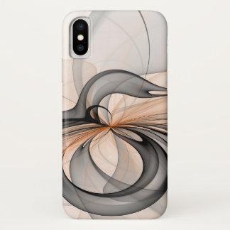 Capa Para iPhone X O Sienna cinzento antracífero abstrato dá forma à