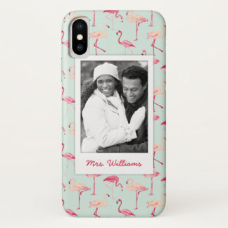 Capa Para iPhone X O teste padrão retro | do flamingo adiciona sua