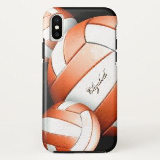 Capa Para iPhone X O voleibol artística branco alaranjado das