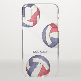 Capa Para iPhone X o voleibol das meninas azuis brancas vermelhas