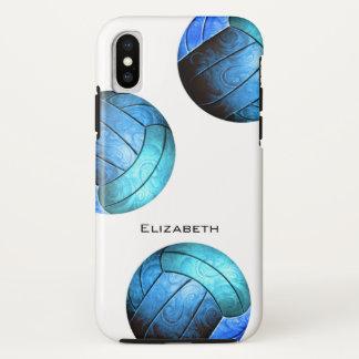 Capa Para iPhone X o voleibol das mulheres personalizadas do azul de
