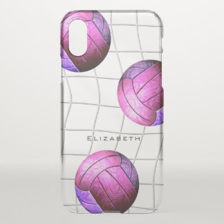 Capa Para iPhone X o voleibol das mulheres roxas cor-de-rosa