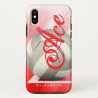 Capa Para iPhone X O voleibol vermelho conceptual de mulheres brancas