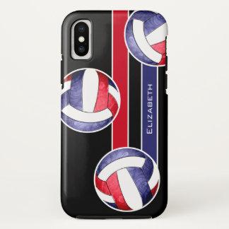 Capa Para iPhone X o voleibol vermelho das mulheres brancas e azul
