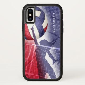 Capa Para iPhone X o voleibol vermelho personalizado das mulheres