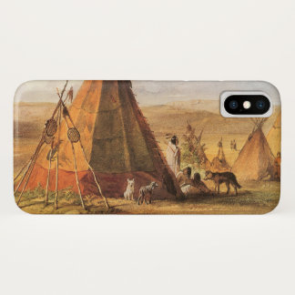 Capa Para iPhone X Oeste americano do vintage, Teepees na planície