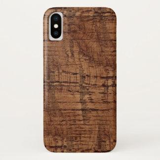 Capa Para iPhone X Olhar áspero da grão da madeira de carvalho da