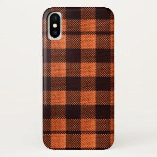 Capa Para iPhone X Olhar Checkered de serapilheira do teste padrão do