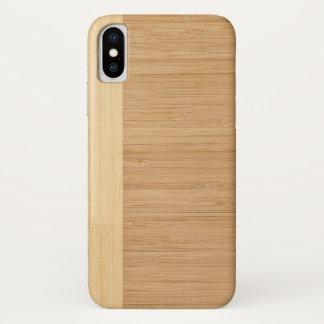 Capa Para iPhone X Olhar de madeira da grão da beira de bambu natural