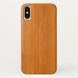 Capa Para iPhone X Olhar de madeira de bambu ambarino da grão