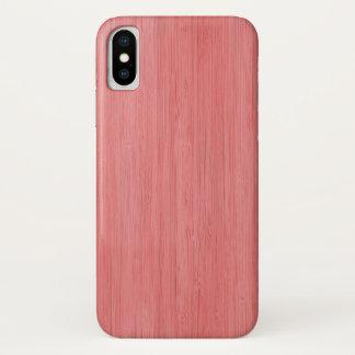 Capa Para iPhone X Olhar de madeira de bambu cor-de-rosa coral da