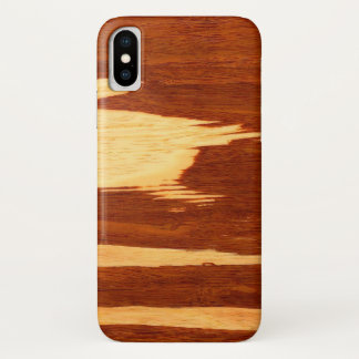 Capa Para iPhone X Olhar de madeira de bambu da grão da listra do