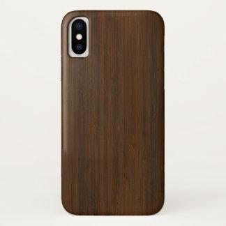 Capa Para iPhone X Olhar de madeira de bambu da grão de Brown da noz